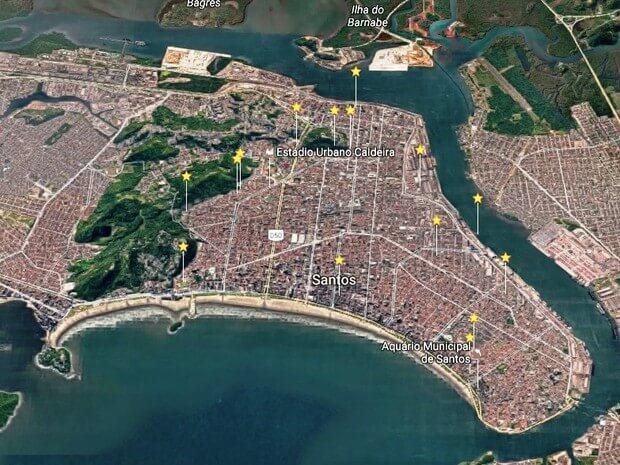 Mapa dos radares na cidade de Santos SP