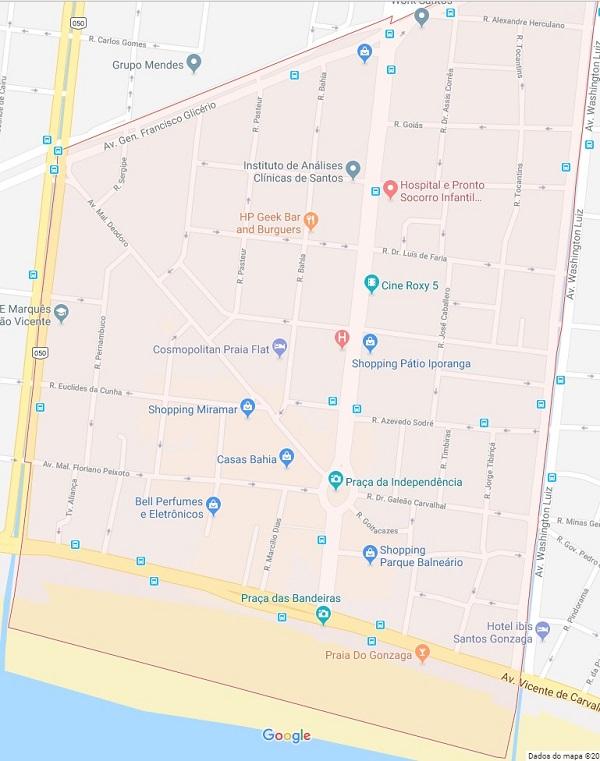Mapa do bairro Gonzaga de Santos SP