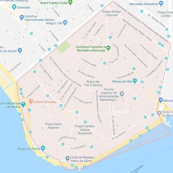 Mapa do Bairro Ponta da Praia de Santos