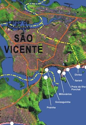 Mapa das Praias de São Vicente