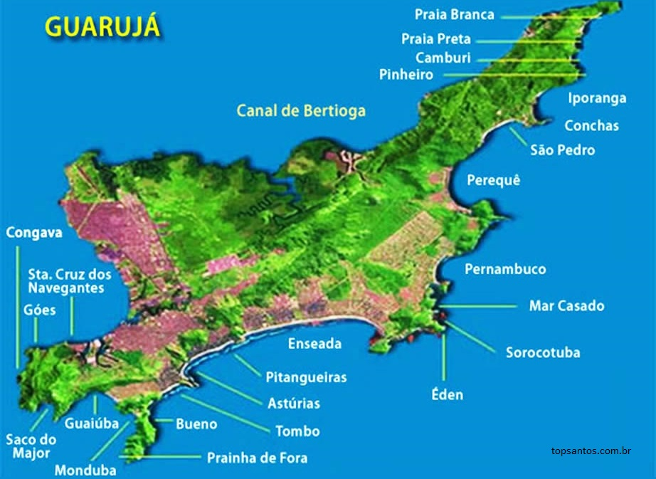 Mapa das Praias do Guarujá