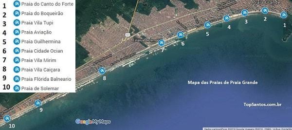 Mapa das Praias de Praia Grande