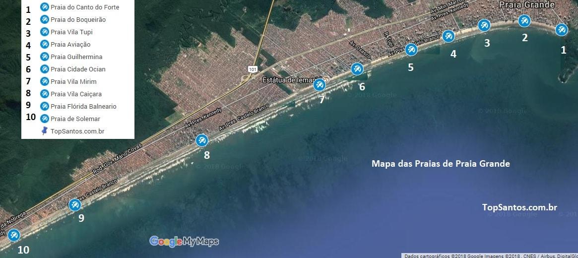 praia grande mapa Praias de Praia Grande: fotos, mapa, o que fazer, análise   Top Santos praia grande mapa