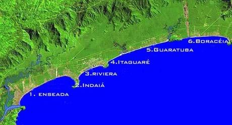 Mapa das Praias em Bertioga